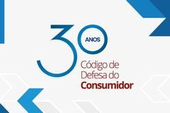 Selo com a legenda: 30 Anos Código de Defesa do Consumidor