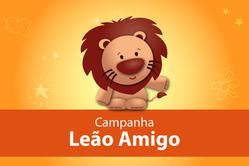 Imagem do leãozinho, da campanha de incentivo à doação do IR para os fundos da infância